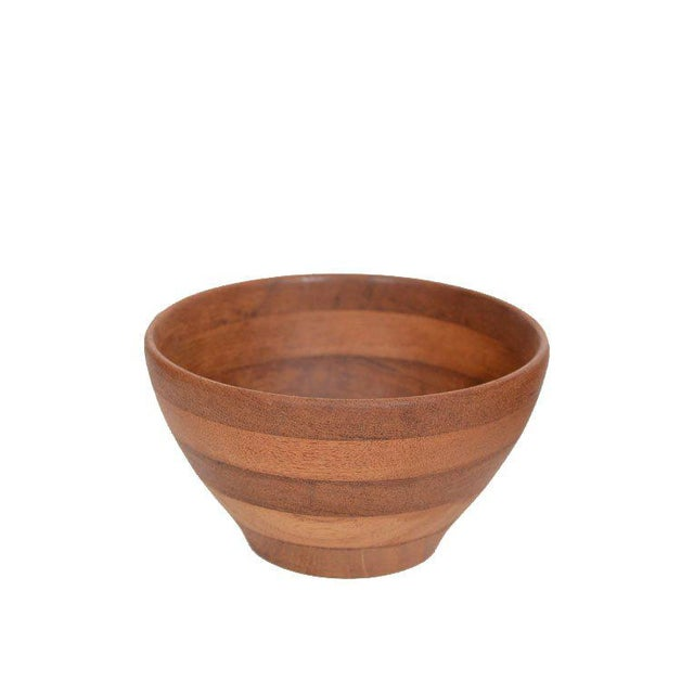 Trio of Danish Modern solid stacked Teak hand turned Bowls Ca.1950s, from Denmark for Illums Bolighus.