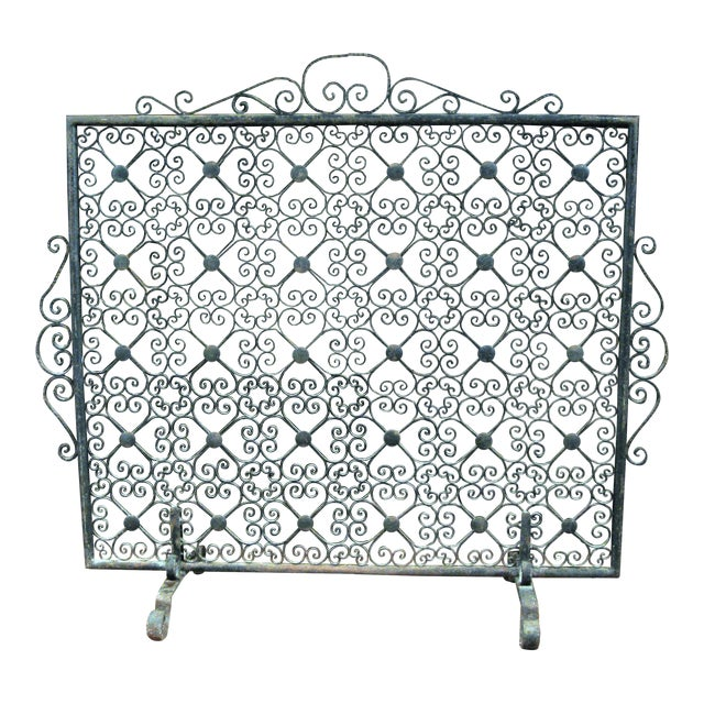 Vintage Wrought Iron Decorative Fireplace Screen For Sale