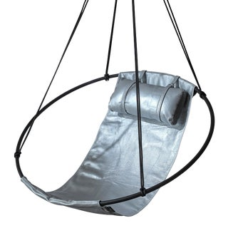 Sling Hanging Chair - Silver Metallic Leather For Sale