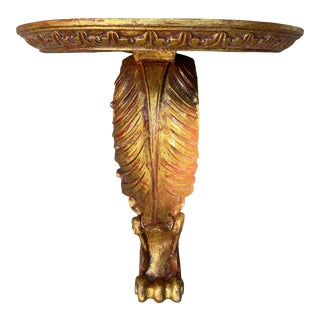 Vintage Carved Gold Gilt Acanthus Wall Bracket Shelf For Sale