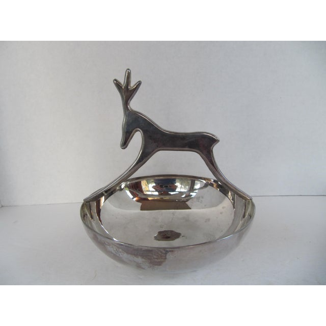 Silver-Plate Reindeer Bowl For Sale - Image 4 of 6
