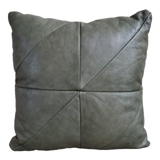 Vintage Leather Geometric Throw Pillow For Sale