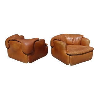 Rare Pair of Leather Chairs by Alberto Rosselli for Saporiti For Sale