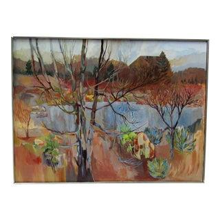 1980s K Byrns Original Landscape Painting For Sale