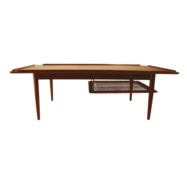 1960 Teak Coffee Table with Rack by Selig of Denma - Image 1 of 4