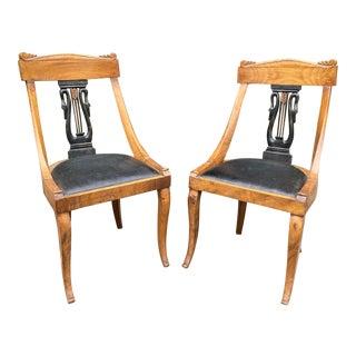 Antique Biedermeier Lyre Back Side Chairs - a Pair For Sale