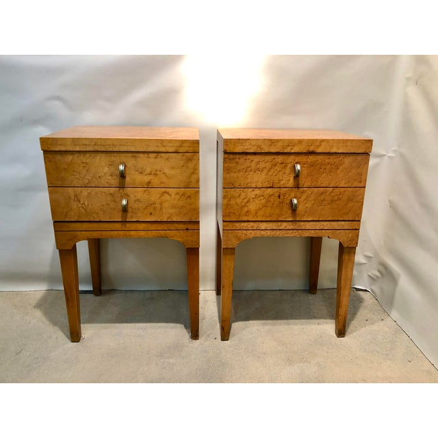 Mid Century Tiger Maple Night Stands - a Pair For Sale - Image 10 of 10