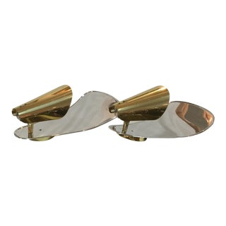 1950's Italian Brass Wall Sconces - A Pair For Sale