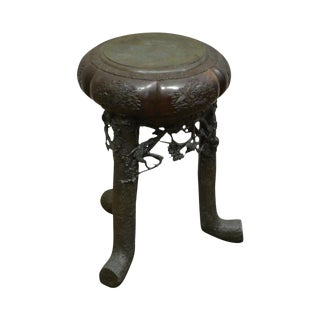 Antique Chinese Bronze Pedestal Plant Stand For Sale