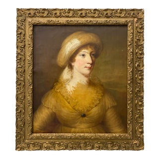 18th to 19th Century Woman in Yellow Original Oil Portrait C.1800 For Sale