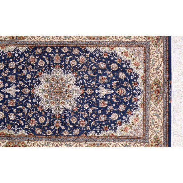 Islamic Pasargad Persian Isfahan Korker Wool & Silk Highlighted Rug - 4′2″ × 6′7″ For Sale - Image 3 of 5