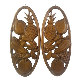 Vintage 1960s Syroco Wood Wall Hangings of Fruit Carved Art - a Pair For Sale