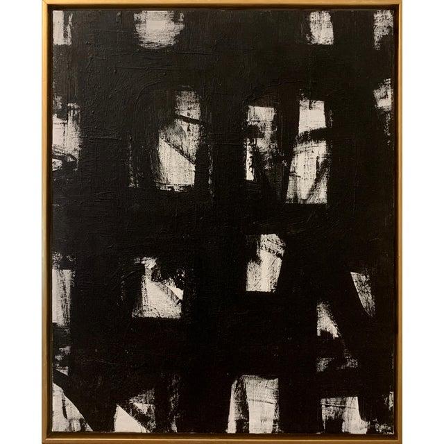 Original Black and White Franz Kline-Inspired Framed Painting For Sale
