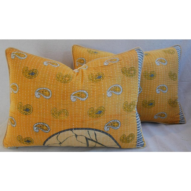 "24"" X 18"" Custom Boho-Chic India Kantha Textile Feather/Down Pillows - Pair - Image 2 of 10"