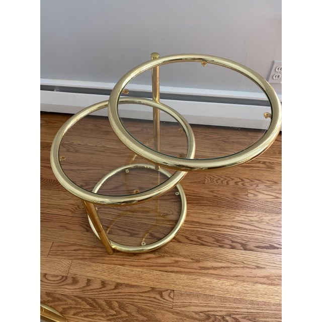 Gold Hollywood Regency Brass and Glass Cocktail Tables - a Pair For Sale - Image 8 of 13