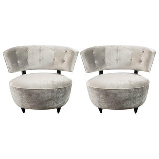 Art Deco Slipper Chairs Smoked Platinum Velvet by Gilbert Rohde - a Pair For Sale