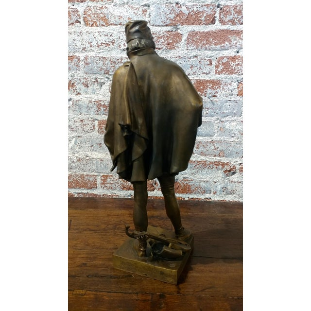 Gothic 19th century Fabulous Bronze Sculpture of a Renaissance Artist -Signed Solid bronze sculpture For Sale - Image 3 of 10