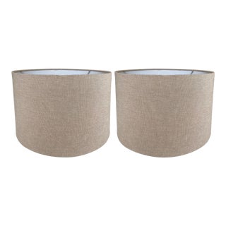Linen Drum Lamp Shades - a Pair For Sale