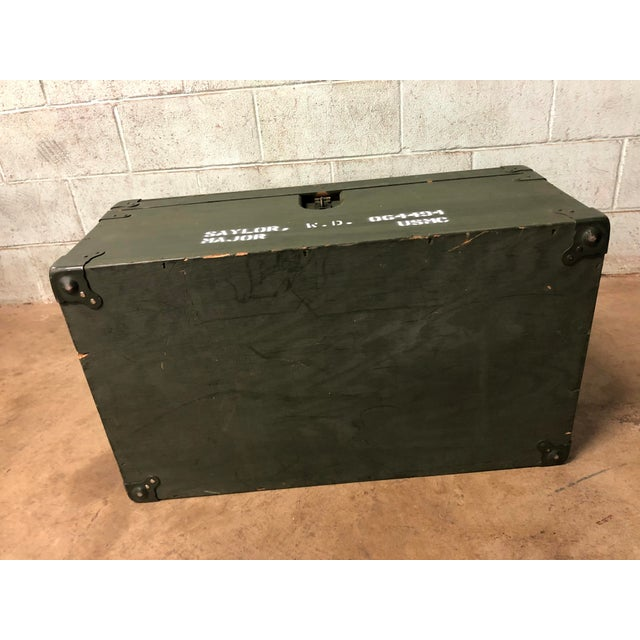 Vintage Industrial Green Wood Military Foot Locker Trunk W Tray For Sale - Image 4 of 12
