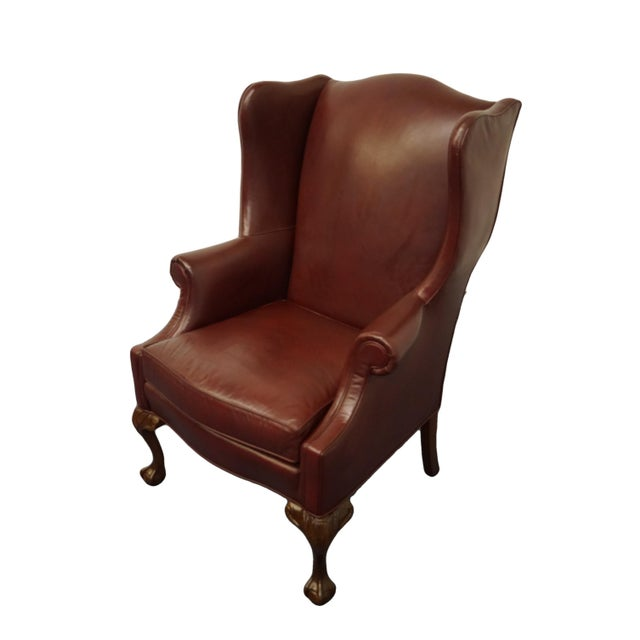 Whittemore-Sherrill Burgundy Leather Wingback Chair For Sale - Image 10 of 10