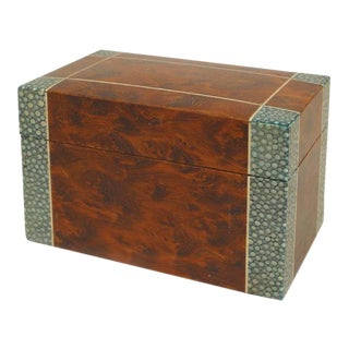 English Art Deco Rectangular Green Shagreen And Burl Wood Box