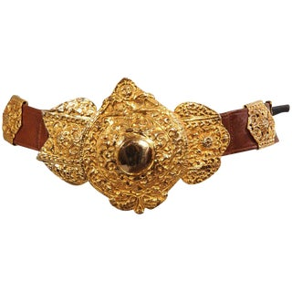 Roberta DI Camerino for Saks Brown Leather Belt Golden Buckle and Slides For Sale