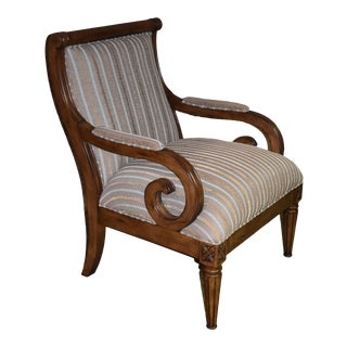 1980s Vintage Traditional Style Striped Accent Chair For Sale