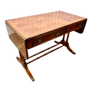 English Yew Wood Parquet Top Regency Style Sofa Table For Sale
