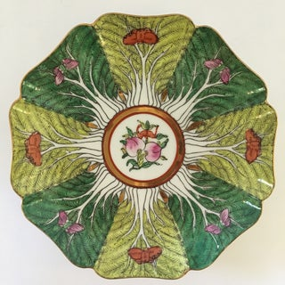 Mid 20th Century Porcelain Bok Choy Leaf & Butterfly Decorative Scalloped Plate Preview