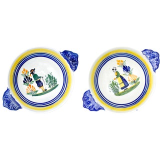 French HenRiot Quimper Signed Lug Bowls- a Pair For Sale