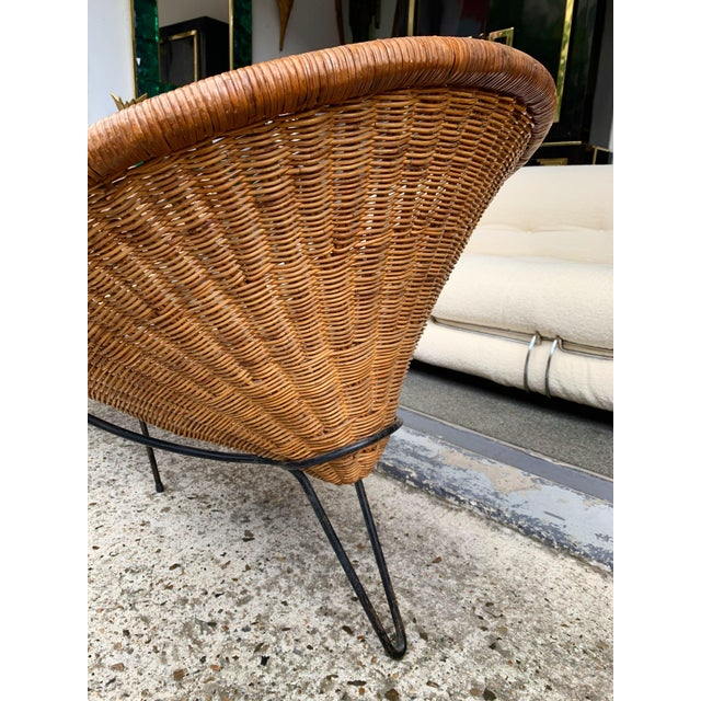 Metal 1950s Rattan Basket Armchairs - a Pair For Sale - Image 7 of 13