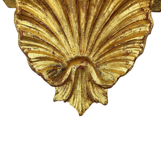Hollywood Regency 20th Century Italian Gilt Gold Carved Wood Grotto Style Shell Shelf For Sale - Image 3 of 5