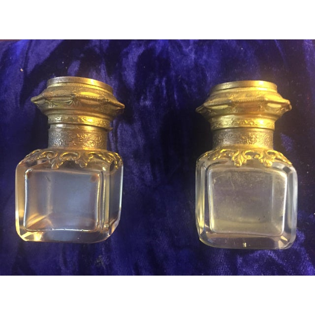 Continental Perfume Shagreen, Mother of Pearl Miniture Trunk With Gilt Filigree Crystal Bottles - 3 Pieces For Sale - Image 4 of 13