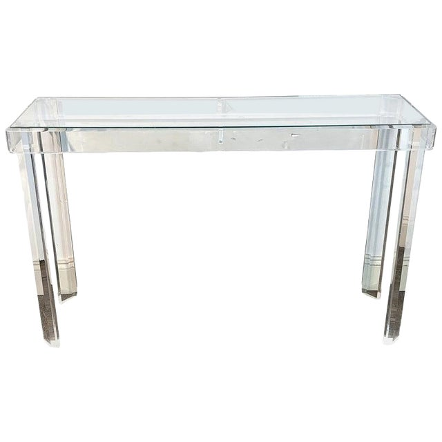 Sleek Modern Lucite and Glass Console For Sale