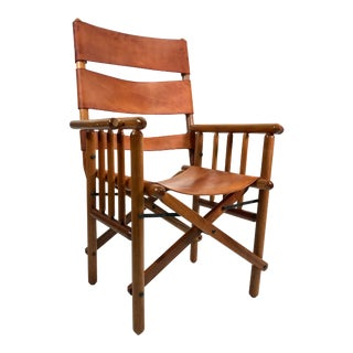 Leather & Wood Folding Campaign Chair For Sale