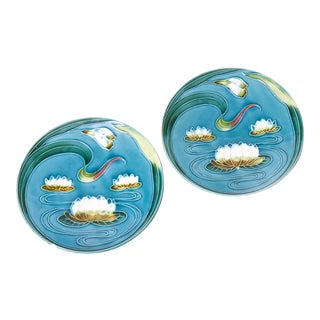 Early 20th Century German Art Novueau Majolica Plates - a Pair For Sale