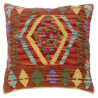 """Cheryle Red/Gold Hand-Woven Kilim Throw Pillow(18""""x18"""") For Sale"""