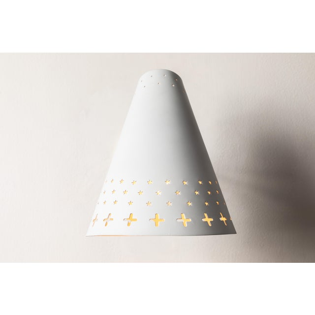 Metal 1950s Danish Perforated Sconces Attributed to Bent Karlby - a Pair For Sale - Image 7 of 13