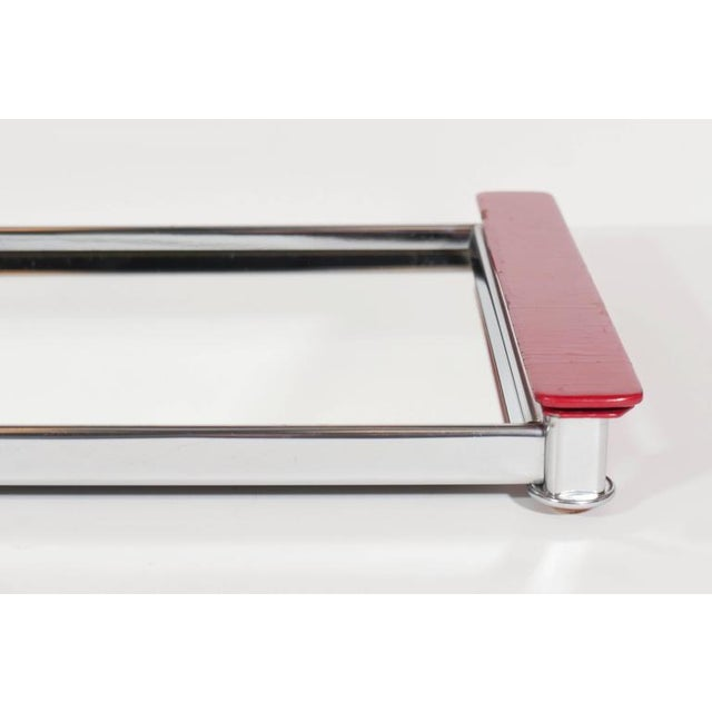 Art Deco Mirrored Bar Tray with Red Lacquered Handles For Sale - Image 11 of 11