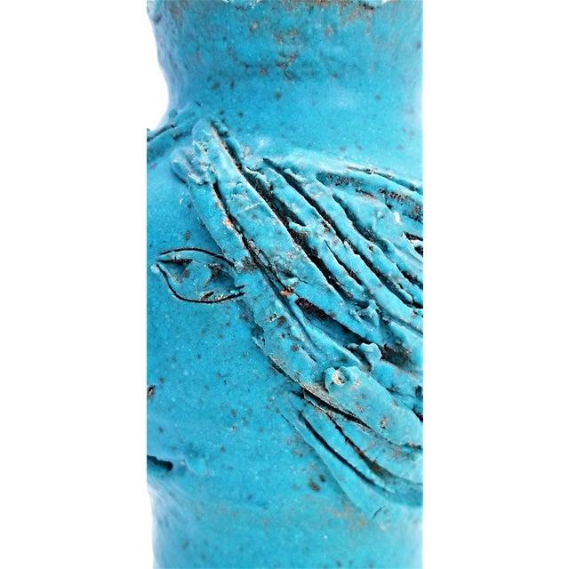 1970s Studio Art Pottery Ceramic Sculpture Blue Vase by Maurice Grossman-Cubist Mid Century Modern Brutalist Boho Face Bust Abstract MCM Art Deco For Sale - Image 10 of 13