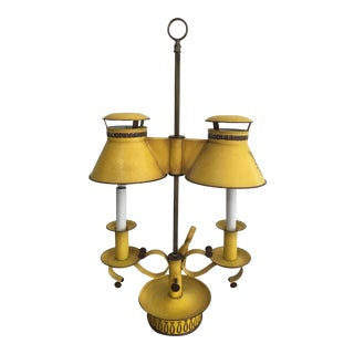 Vintage French Style Tole Double Bouillotte Lamp For Sale