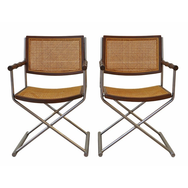 Chrome, Cane and Bamboo Directors Chairs - Pair - Image 1 of 3