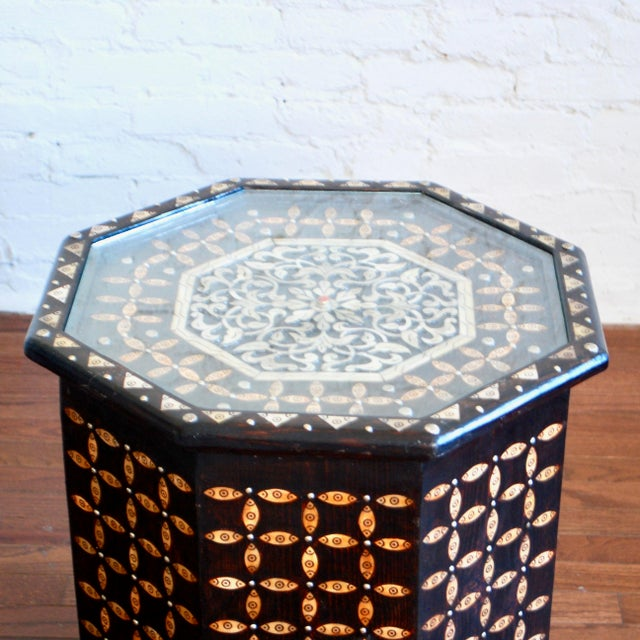 Islamic Moroccan Bone Inlaid Side Table For Sale - Image 3 of 4