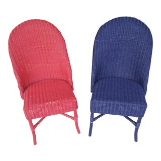 Red & Blue Wicker Chairs - A Pair For Sale
