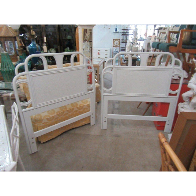 Ficks Reed White Rattan Twin Headboards - a Pair - Image 4 of 7