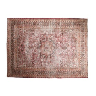 "Vintage Distressed Meshed Carpet - 8'10"" X 12'"