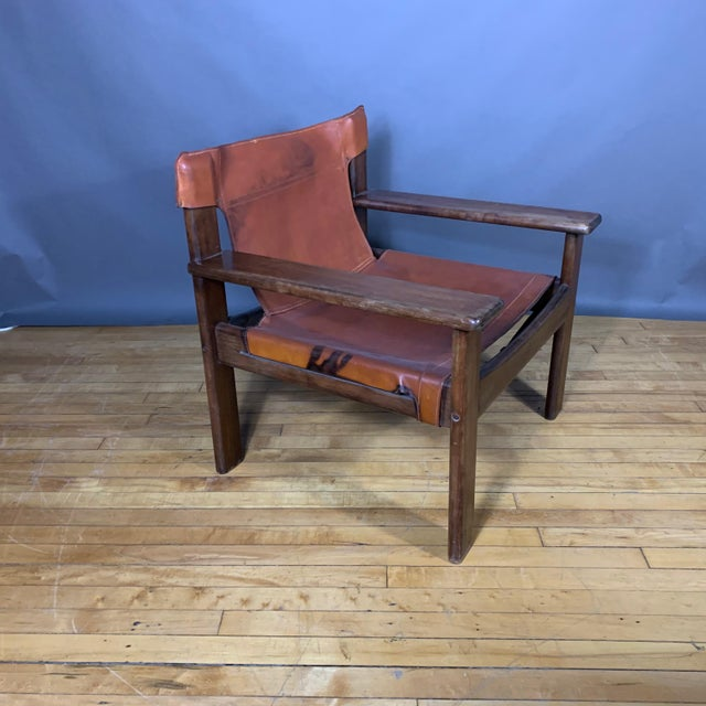 Pair 1970s Saddle Leather Arm Chairs, Mobring Style For Sale - Image 9 of 13