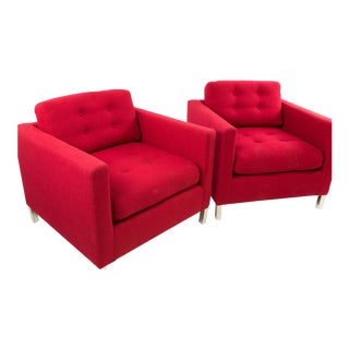 Mid-Century Red Wool Club Chairs - A Pair