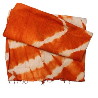 Tangerine Orange Mud Cloth Textile For Sale