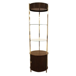 1980s Mid Century Modern Chrome Wood Glass Round Etagere with Tambour Door